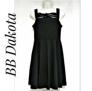 BB Dakota Black Lattice Top Fit & Flare Dress Sz S